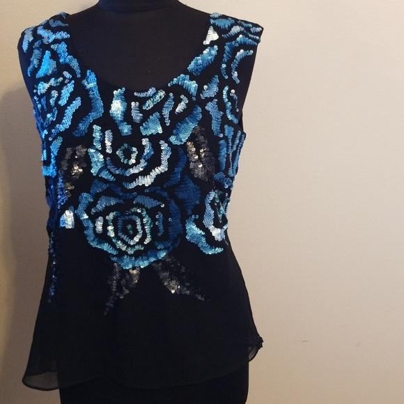 Midnight Velvet Tops - Midnight velvet sleeveless sequined front top